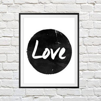 Love Print, Love Poster, Wall Art, Black And White