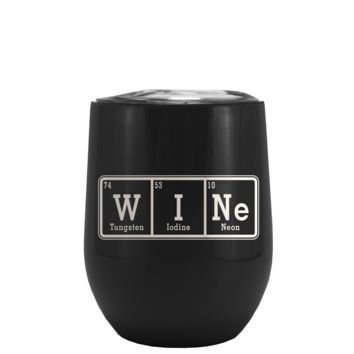 WINe Laser Engraved on Black Matte Stemless Wine Cup Tumbler
