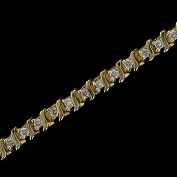 14k Yellow Gold Estate 1cttw S Style Diamond Tennis Bracelet