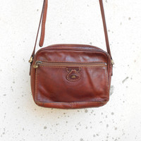 Vintage THE BRIDGE 037716 Chestnut Brown Leather Purse , Crossbody , Shoulder Bag // Small // Made in Italy