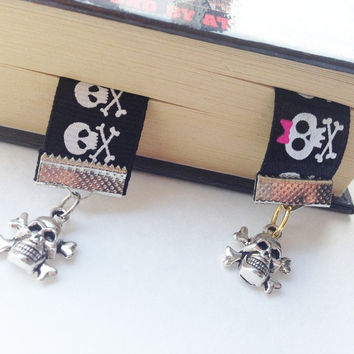 Cute Skulls Ribbon Bookmarks Skull Bookmark Bookmarker with pendants charms