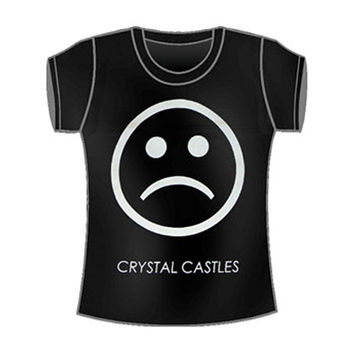 Crystal Castles  Sad Face Girls Jr Soft tee Black Rockabilia