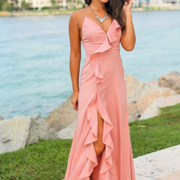 Blush Ruffled Maxi Dress with Lace Up Back