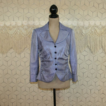 Lavender Jacket Light Purple Cocktail Jacket Ruched Dressy Womens Jackets Small Medium Iridescent Shimmery Victor Costa Womens Clothing