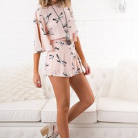 Fly Away Printed Two Piece (Blush)