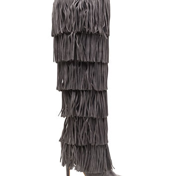 Tall Tale Fringed Faux Suede Boots