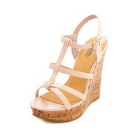 Patent T-Strap Cork Wedge Sandal: Charlotte Russe