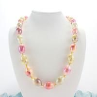 Chunky Bead Necklace Easter Egg Colorful Necklace Large Bead Pastel Vintage Necklace Jewelry