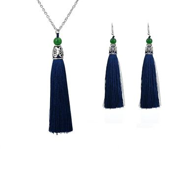 Chadestinty Bohemia Ethnic Pendants Necklaces Earrings Jewelry Sets For Women Tassel Dangle Earring Vintage Indian Jewellery Set