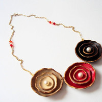 Chocolate Cherry Cream Leather Flowers Necklace by BijuBrill