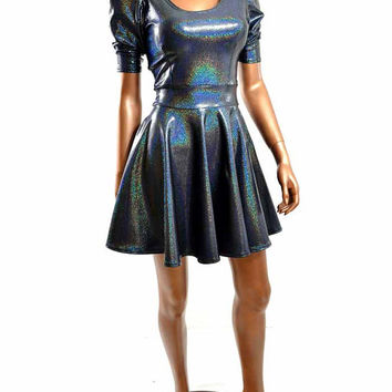 Silver Black Hologram Sparkle Darted Sharp Shoulder Pointy Sleeve Fit and Flare Skater Dress Holiday Party Dress -E7436