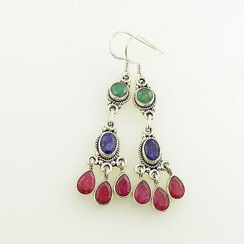 Emerald, Ruby & Sapphire Sterling Silver Dangle Earrings