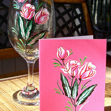 Hand Painted Gift Set Wine Glass and Blank Card