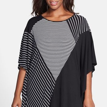 Plus Size Women's Vince Camuto Mix Stripe Poncho,