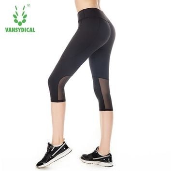 Women Patchwork Leggings Capri Sport Pants Anti-sweat Running Tights Sexy Mesh Workout Trousers