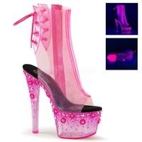 """Sky 1018 UV  Clear Glitter Neon Pink Platform Ankle Boot 7"""" Exotic Heel"""