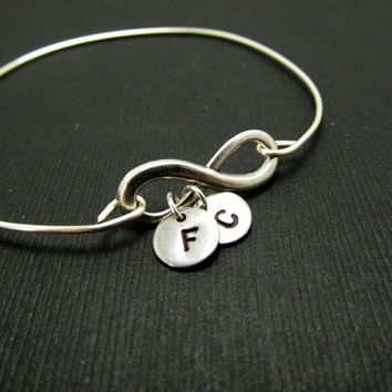Personalized Infinity Bracelets, Sterling Silver Bangle, Monogram Initial Bangle, LoVE Friendship Bridesmaid, Mother Gift, Stacking Bangles