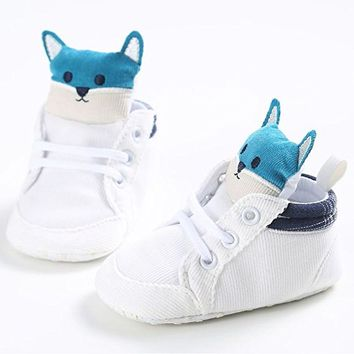 Newborn Baby Boys Girls Shoes Fox Bandage Sneaker Anti-slip Boots Crib Shoes