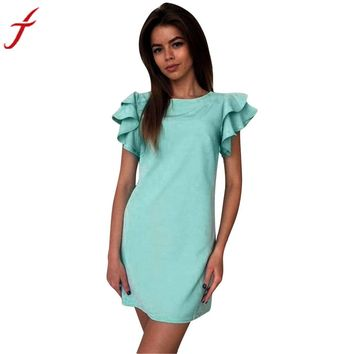 New Arrival Dress Womens Summer Dresses Butterfly Sleeve A Line Ladies Party Evening Short Mini Dress