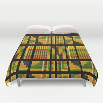 African Print Duvet Cover Tribal Duvet Cover Quilted Duvet Cover Yellow Black Green Duvet Cover Yellow Duvet Cover Green Duvet Cover Black