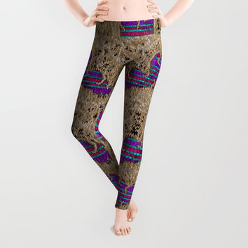 Pearl lace and smiles in peacock style Leggings by Pepita Selles