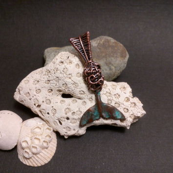 Wire Wrapped OOAK Handcrafted Copper Whale Tail Spirit Animal Totem Charm/ Phone Charm / Pendant/Necklace