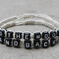 To the moon and back Bracelets for Couples ,Set of 2 , Personalized Jewelry ,  Bridesmaid Bracelet,Anniversary Gifts,