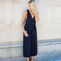 Women Loose Sleeveless Romper Trousers Pants _ 10765