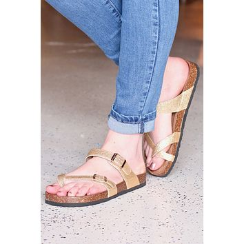 Bork Toe Strap Gold Glitter Sandals