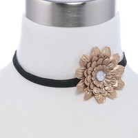 CRYSTAL FLORAL VELVET CHOKER NECKLACE