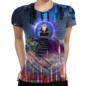 Meditating Santa Womens T-Shirt