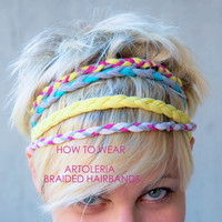 HEADBAND of braided elastan lycra yarn and wood bead as lock, Color summer 2012