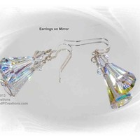 Swarovski Crystal Large Artemis Earrings Sterling Silver