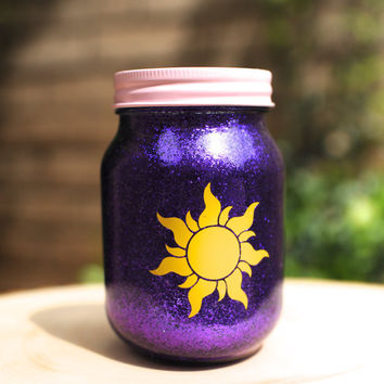 Tinted Glitter Mason Jar  -  Disney Princess Rapunzel from Tangled Inspired