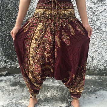 Brown Harem Genie pants Drop Crotch style Paisleys Print fabric Hippie Gypsy fashion Drop crutch for Free people Plus Size women Festival