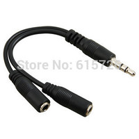 1pcs black 3.5mm 1 in 2 couples audio line Earbud Headset Headphone Earphone Splitter For pad Phone Android Mobile MP3 MP4