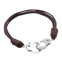 Ladies Handcuff Leather Bracelet. Wonderful way to show support of law enforcement.
