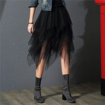 2019 Tulle Skirts Womens Fashion Elastic High Waist  Mesh Tutu Skirt Pleated Long Skirts Midi Skirt Saias Faldas Jupe Femme