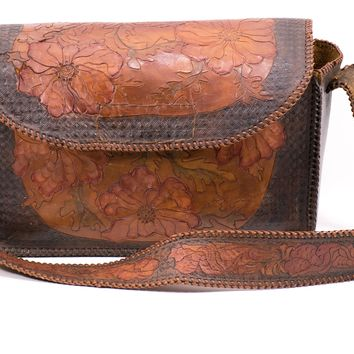 Vintage Tooled Leather Bag Floral Handmade Purse 1940s Large Tote Travel School Saddle Bag Crossbody Bag