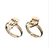 Partner In Crime BFF Spilt Heart Ring 2 Pc Set