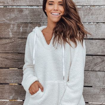 Cream Fuzzy Pullover with Pockets