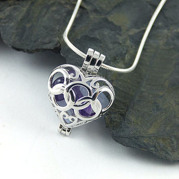Sterling Silver Heart Necklace, Raw Amethyst Gemstone, Lace Agate Stones, Olympic Ring Heart Pendant, Sterling Silver Heart Locket