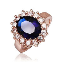AMAZING 7.10CT BLUE OVAL STUD 925 STERLING SILVER ENGAGEMENT AND WEDDING RING