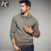 KUEGOU Autumn Mens Casual Hoodies Black Khaki Color Brand Clothing For Man's Slim Hooded Pullover Male Tracksuits Plus Size 6059