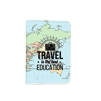 Travel Is the Best Education World Map Leather Passport Holder - Passport Protector - Passport Cover - Passport Wallet_SUPERTRAMPshop