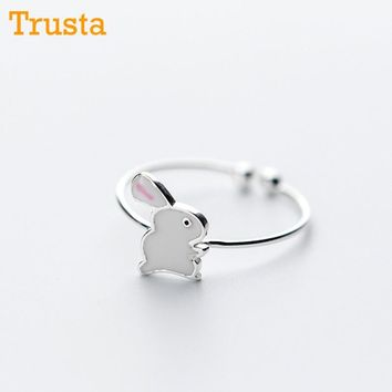 Trusta Women 100% 925 Sterling Silver Fashion Jewelry Cute Rabbit Cocktail Ring Sizable 5 6 7 Girls Kids Xmas Gift DS340