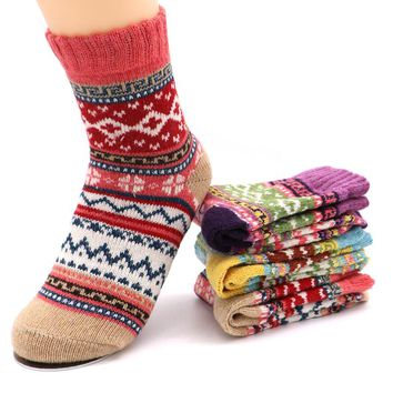 1Pair Christmas Warm Winter Socks For Women Thick Section Women Wool Socks Sweet Cute Women's Socks Chaussette Femme Sokken