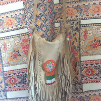 Tan suede fringe purse/ vintage Native American style boho bag/ bohemian purse with beaded medallion