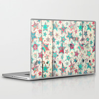 Grunge Stars on Shabby Chic White Painted Wood Laptop & iPad Skin by micklyn