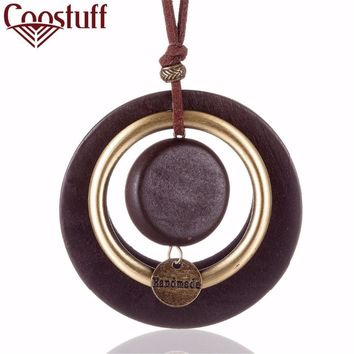 """vintage woman choker necklace Fashion Jewelry Wooden pendant """"Handmade"""" Long necklace for women collares mujer kolye"""